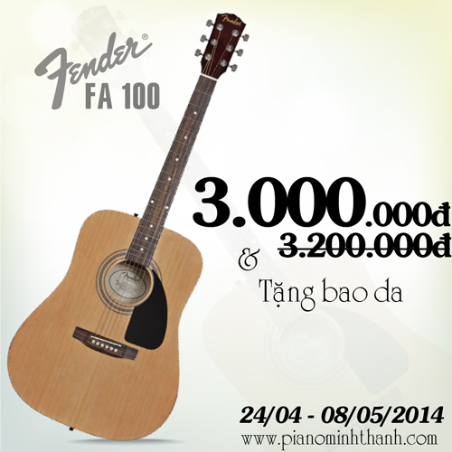 khuyen mai guitar fender fa100