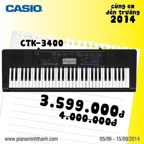 khuyen mai dan organ Casio CTK-3400