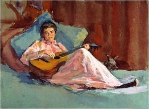 Giờ giải lao trong buổi tập nhạc kịch - tranh của Ellen Day Hale (1855 - 1940).