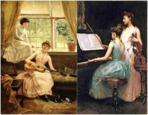 Ảnh trái: Giờ giải trí, tranh của Hugo Breul (1854 - 1910). Ảnh phải: Sonata, tranh của Irving Ramsey Wiles (1861 - 1948)