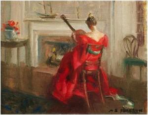 Quý bà với đàn Guitar, tranh của Marguerite Stuber Pearson (1898-1978)