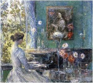 Phút ngẫu hứng, tranh của Theodore Hassam (1859 - 1935)